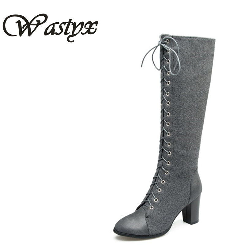 Wastyx new knee high boots fashion high heels ladies shoes autumn winter boots woman lace up pointed toe women boots big size 34 mary yanxi new fashion high heels women boots lace up pointed toe shoes mid calf worm boots thin heels elegant shoes big size43