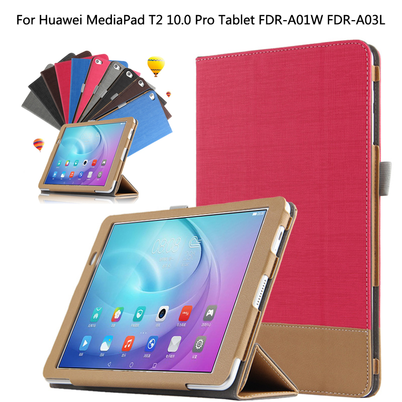 Ultra Slim 3-Folder Canvas Folio Stand PU Leather Cover Protective Case For Huawei MediaPad M2 FDR-A01W FDR-A03L T2 Pro 10 + Pen new fashion pattern ultra slim lightweight luxury folio stand leather case cover for huawei mediapad t2 pro 10 0 fdr a01w a03l
