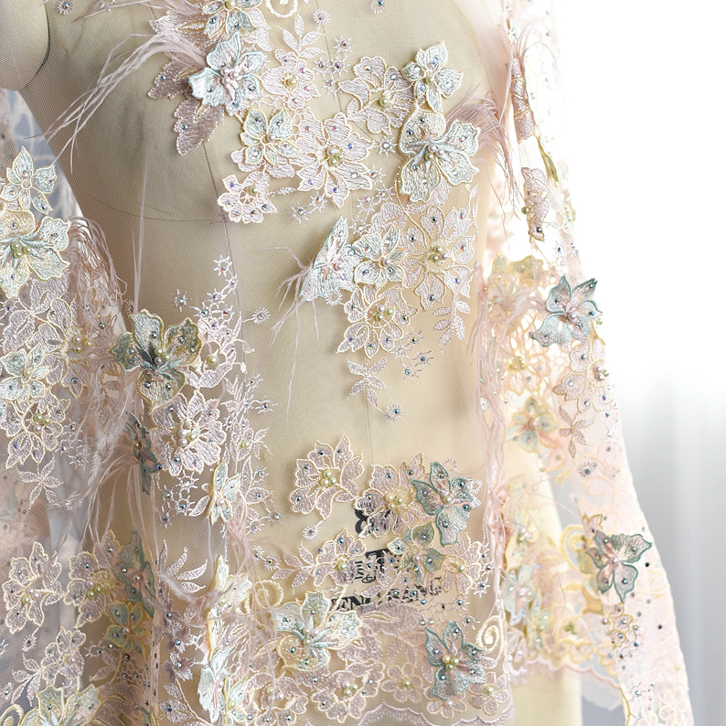 Wedding Gown Fabrics Guide: Bilateral Symmetry Luxury Flower Beaded Embroidery Lace