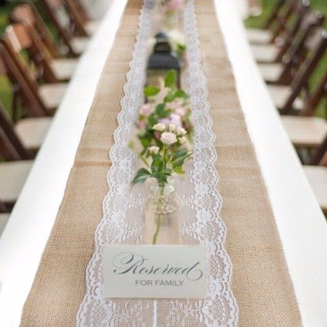 5pcs Vintage Burlap Lace Table Runner for Wedding Decoration ...