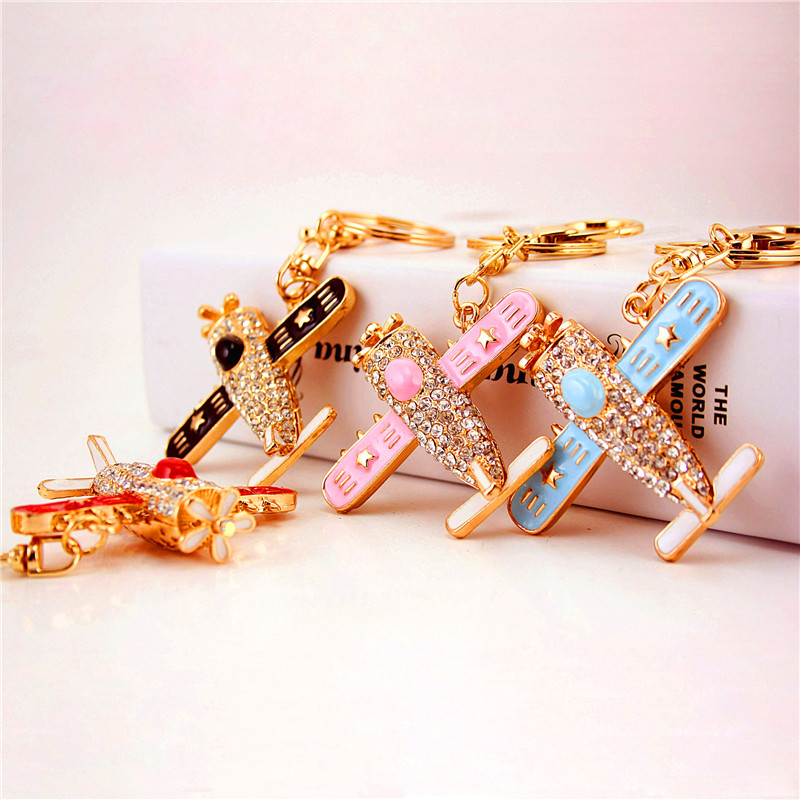 2019 Aircraft Key Chain Rhinestone Pink Blue Delicate Cute Cartoon Propeller Airplane Keychain Crystal Keyring Keychains image