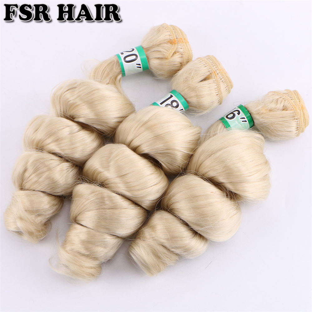 Image 2 - FSR 16 18 20 Inch 3 pcs/lot loose wave hair Weaving 613# double weft Synthetic hair ExtensionsSynthetic Weave   -