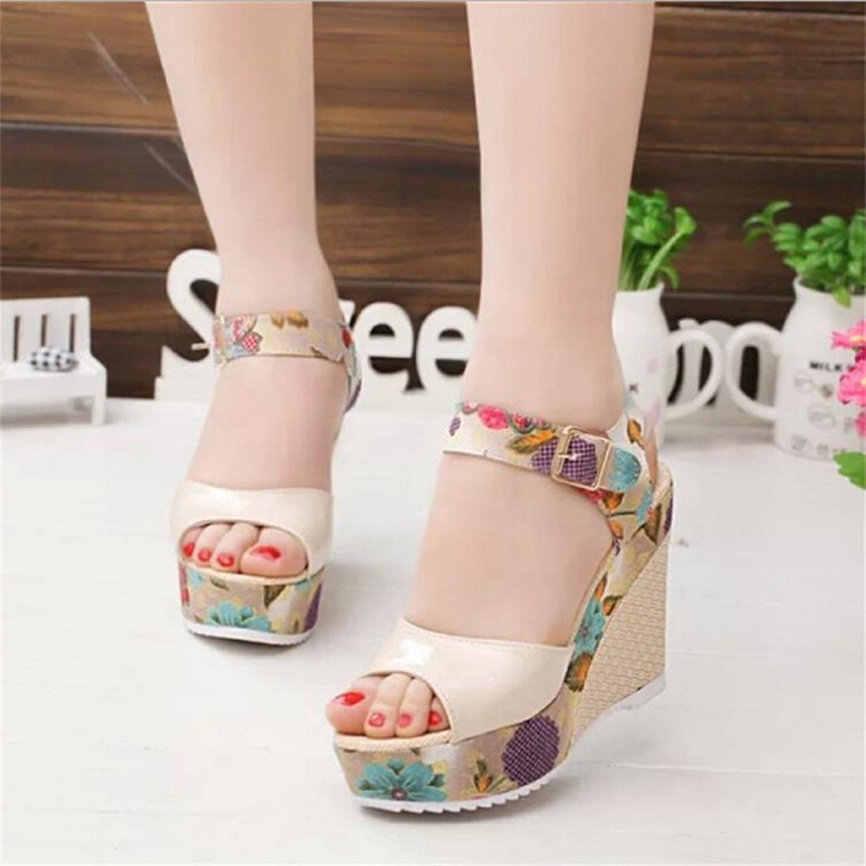 Shose Frauen Mode Sommer Frauen Gedruckt Hang Sandalen Sommer Keile Plattform Zehe Schuhe Mit Hohen Absätzen M20 #30