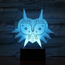 Mask of The Legend of Zelda 3d Led Night Light Kids Nightlight for Bedroom Child Gift Home Office Club Atmosphere Table Lamp недорого