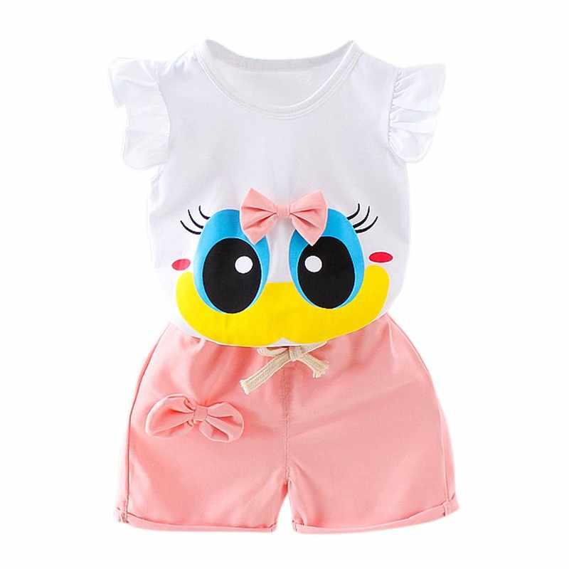 2a8e6a7b4ce ... 3 Colors Summer Stylish Baby Girls Clothes Set Infant Kids Cartoon T- shirt+Pants ...