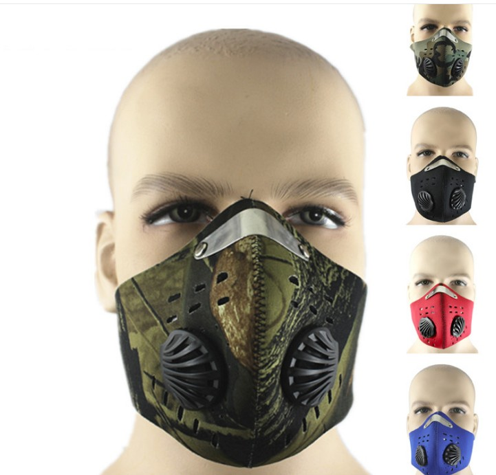 Bike Bicycle Riding Camouflage PM2.5 Gas Protection Filter Respirator Dust Mask Head