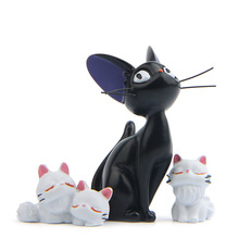 Black Cat & White Cat Anime Kiki's Delivery Service Kiki Cat Resin Action Figures Collection Model Toys Children Christmas Gifts miyazaki anime kiki s delivery service kiki cat figure toys kiki cat cup resin action figure collection model toy for home decor