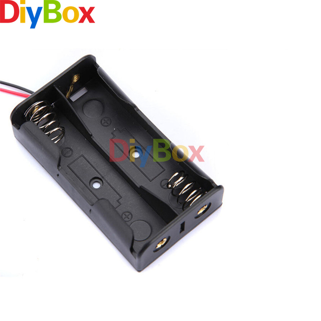 5PCS Plastic Battery Case Storage Box Holder with Wire Leads for 2 X ...