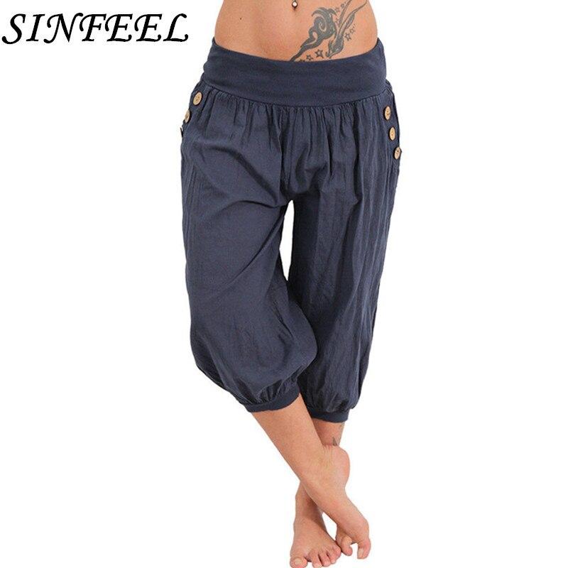 a548046d02e1d SINFEEL 5XL 2018 Summer Autumn Women Casual Harajuku Capri Pants Trousers  Plus Size Elastic Waist Cotton Linen Palazzo Pants -in Pants   Capris from  Women s ...