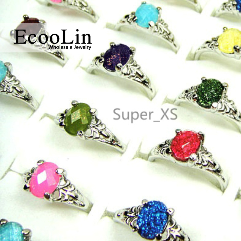 Fashion Jewelry Bulk Lots 30pcs Colorful Glass alloy Vintage Classic Top Rings