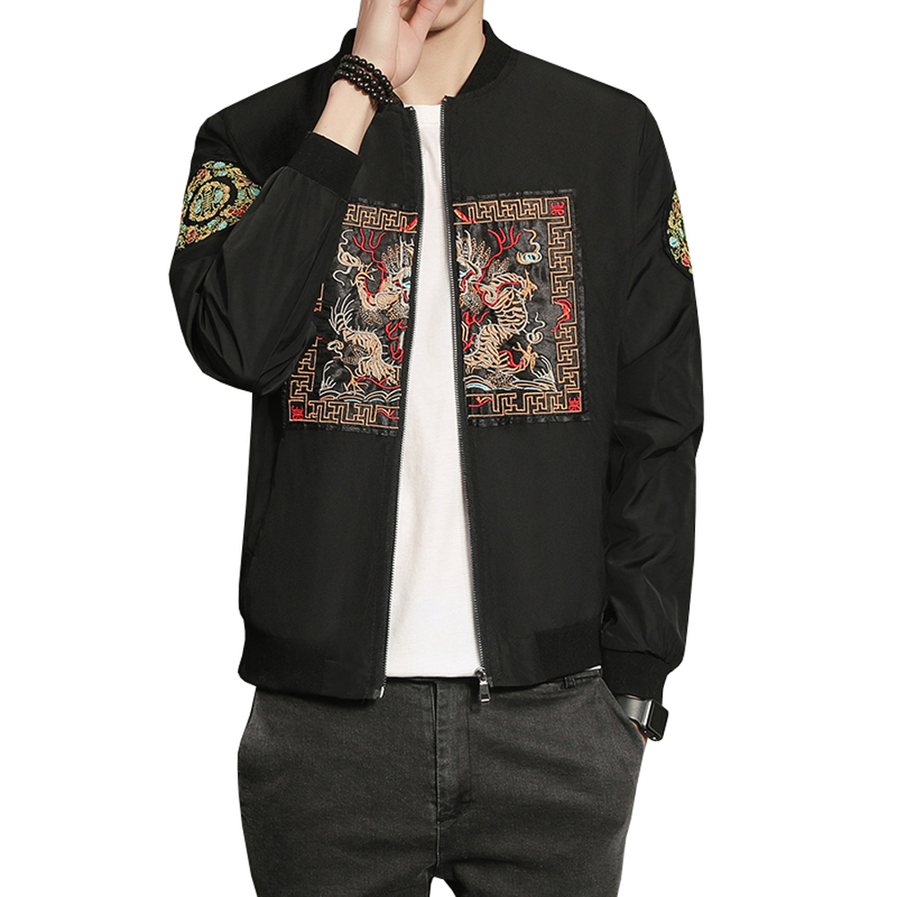 b9407ad73 2018 Chinese Designs Coat Men Long Pao Embroidery Fashion Slim Fit Bomber  Jacket Zipper Casual Male