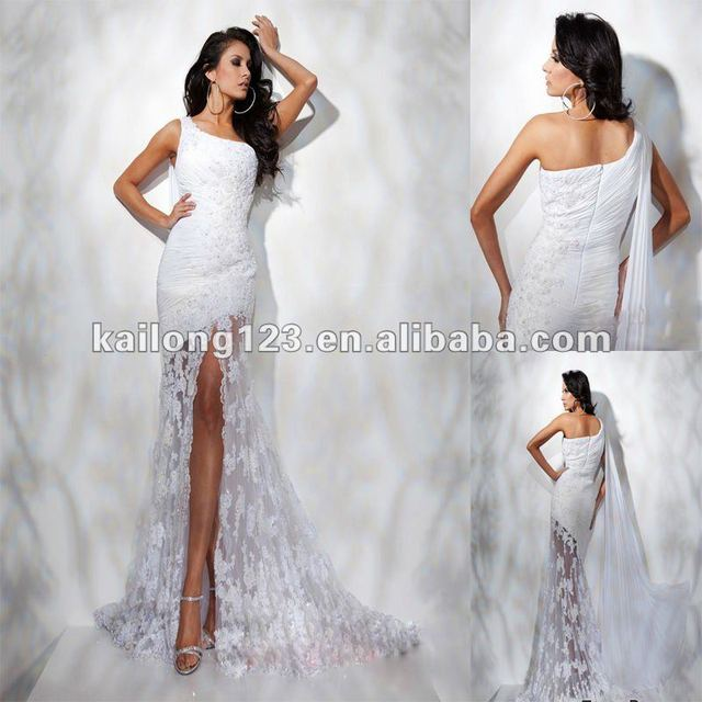 97150a094fce1 Graceful One-shoulder Mermaid White Long Ruched Beaded Appliques Sheer Side  Slit Chiffon Lace Evening Gown