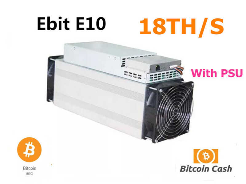 Used Asic BTC BCH Miner Ebit E10 18T With Official PSU Better Than Antminer S9 S9j S11 S15 T15 WhatsMiner M3 M10 INNOSILICON T3