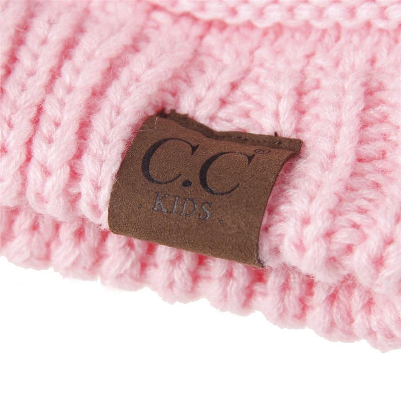 CC Beanie Kids CC Pom pom Hats Warm Girls Boys Knit Winter Hat Children  Cotton Knit Caps Skullies Beanies Woolen Crochet Cap-in Skullies   Beanies  from ... 8c7ee040ec01