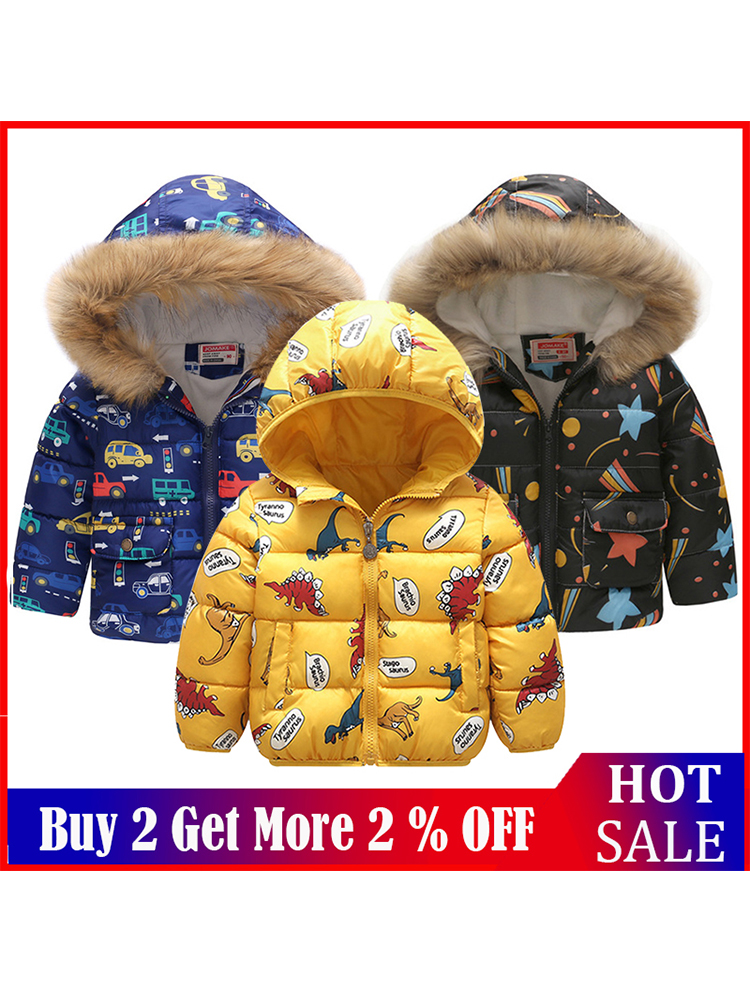 Theshy Toddler Baby Girl Boy Floral Dinosaur Winter Warm Jacket Hooded Windproof Coat Winter Coats for Kids with Hoods