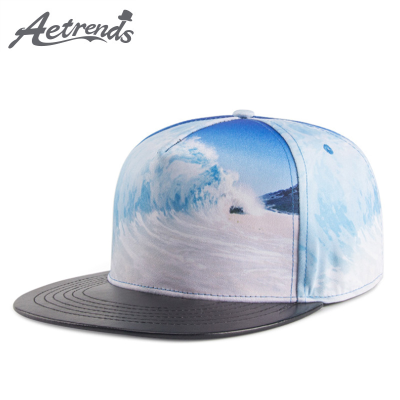 [AETRENDS] 2018 New 3D Beach Waves Print Baseball Cap Men or Women Hip Hop Caps Snapback ...