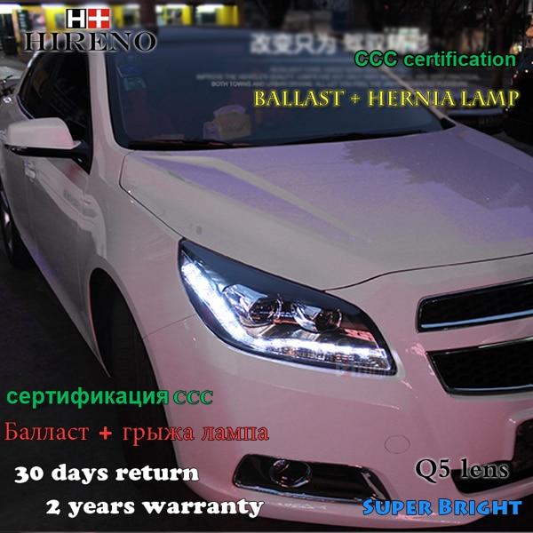 Hireno Headlamp for 2012 2013 2014 Chevrolet Malibu Headlight Assembly LED DRL Angel Lens Double Beam HID Xenon 2pcs hireno headlamp for 2015 2016 2017 chevrolet cruze headlight assembly led drl angel lens double beam hid xenon 2pcs
