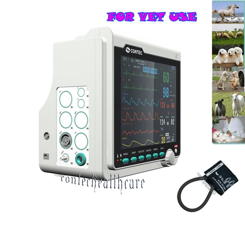 Printer+ICU Patient Monitor SPO2,ECG,NIBP,PR,RESP,TEMP for Veterinary\Vet\Pet CE ce vet veterinary icu patient monitor 6 parameters contec cms6000 etco2 printer