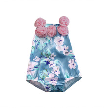 Summer Flower Backless Sleeveless Jumpsuit Outfits Sunsuit Clothes Sweet Infant Baby Girls Clothing Floral Tops Bodysuits