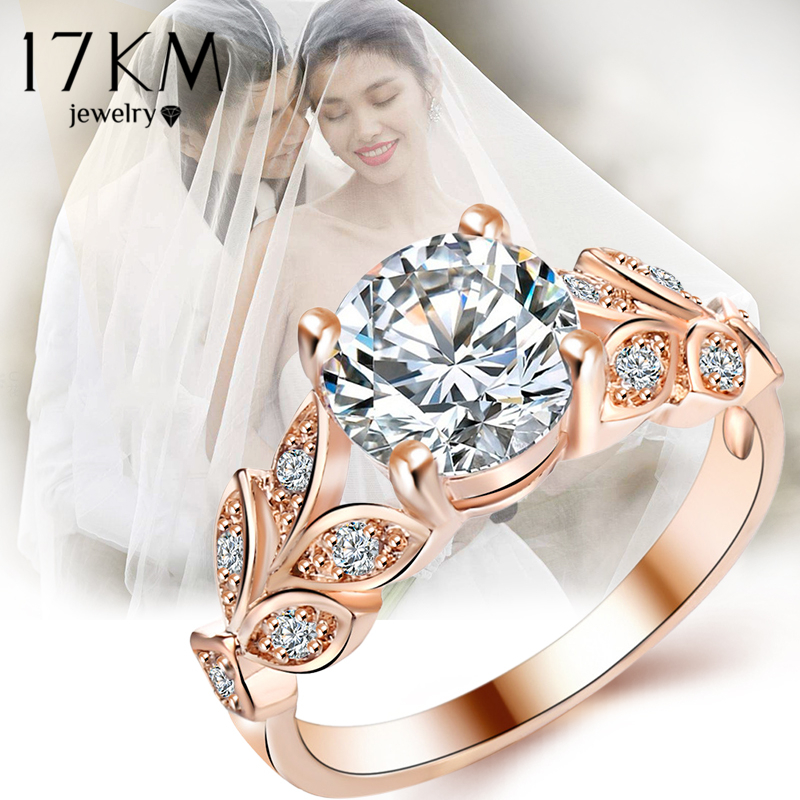 17KM Fashion Leaf Flower Wedding Rings For Women Ladys Gold Silver Silver Bijoux Anel Femme Engagement Ring Crystal Jewelry 2018
