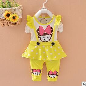 2016 новый стиль Детская одежда устанавливает осенью и весной девушки комплектов одежды одежда установить с длинным рукавом и брюки