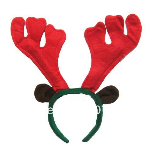Hot selling Plastic Non-woven red green colors Christmas reindeer antler headband