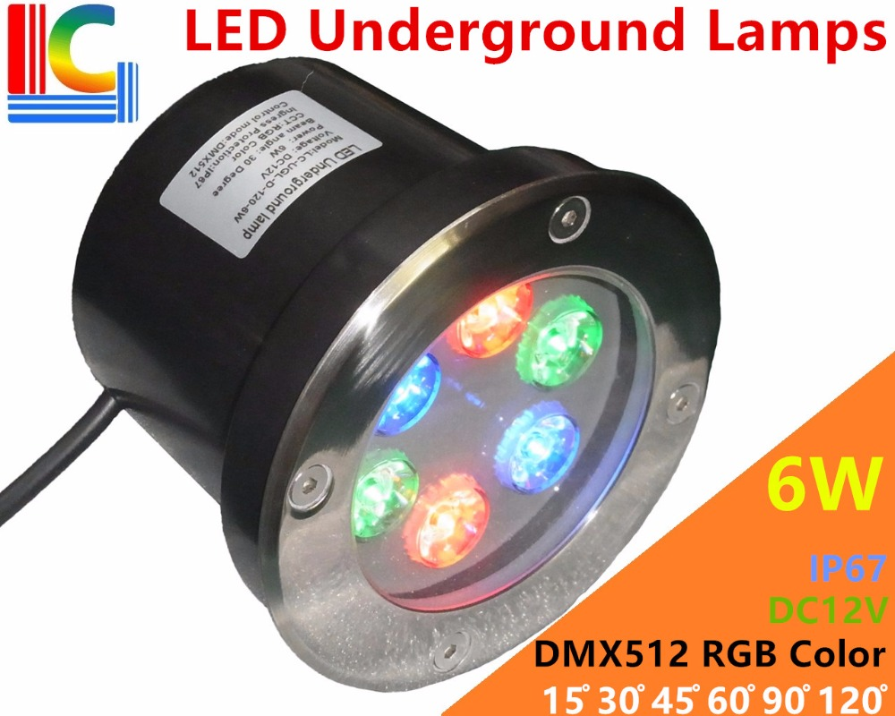 6W LED Underground Lamps 12V 24V 110V 220V 85 265V Outdoor IP67 Waterproof Buried lights DMX512 RGB Color Garden Lighting CE in LED Underground Lamps from Lights Lighting