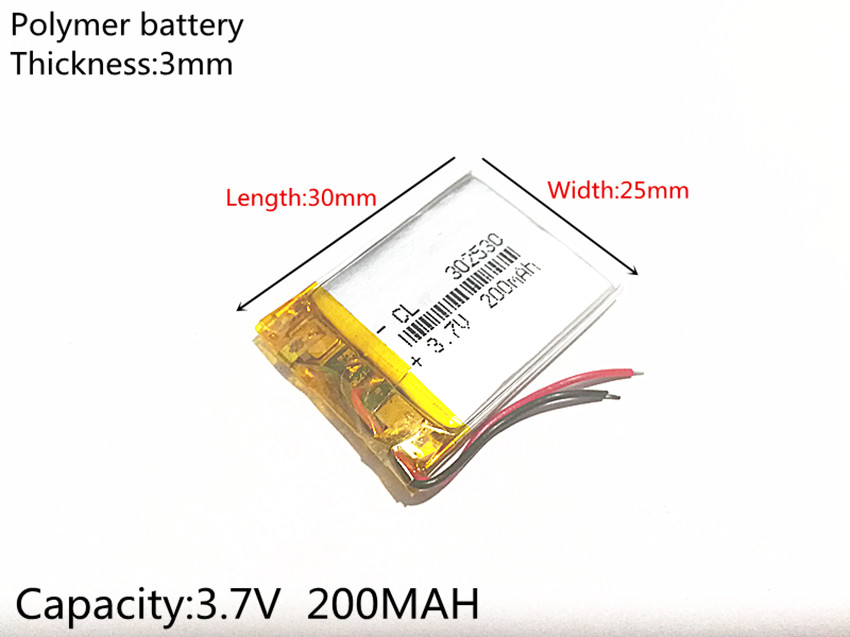 Free Shipping 3.7V 200mAh <font><b>302530</b></font> Lithium Polymer Li-Po Rechargeable Battery power For Mp3 MP4 MP5 GPS PSP mobile bluetooth image
