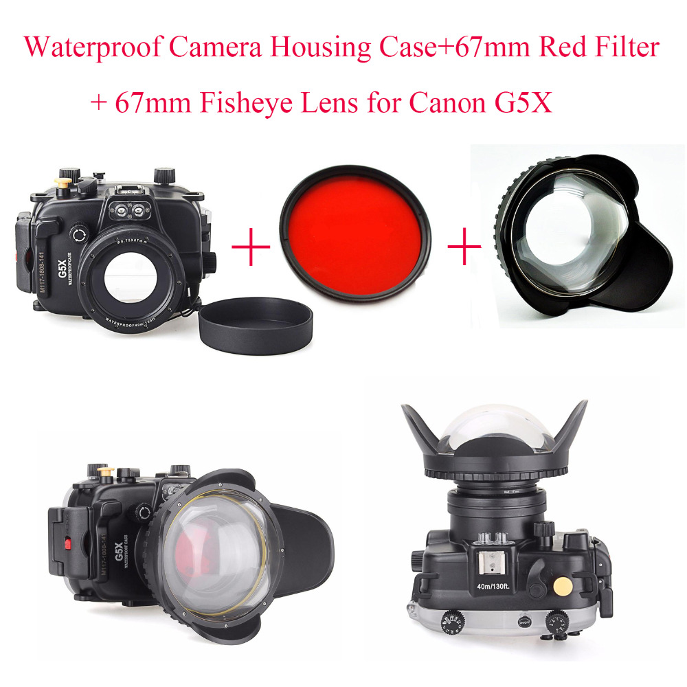 40m 130ft Underwater Diving Camera Housing Case for Canon G5X 67mm Fisheye Lens 67mm Red Filter