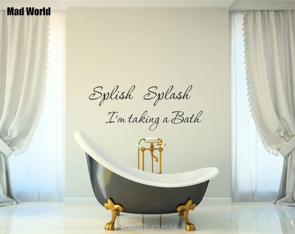 Splish Splash Im taking a bath Bathroom Wall Art Stickers Wall Decals Home DIY Decoration Removable Decor Wall Stickers