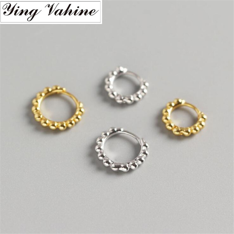 Ying Vahine Korean Jewellery Simple Round Earring 100% 925 Sterling Silver Small Round Beads Hoop Earrings For Women