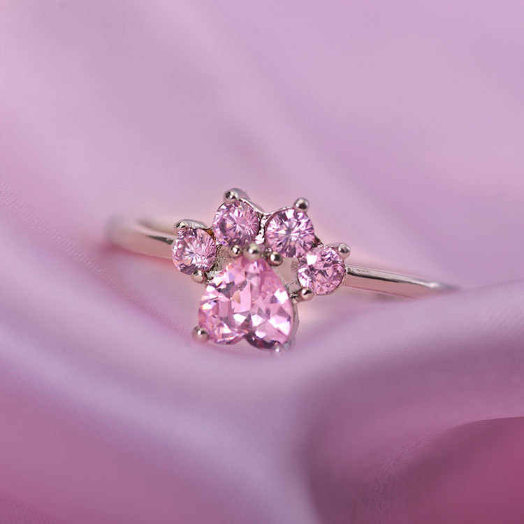 Кольца для женщин из розового золота с регулируемым размером в виде кошачьей собаки медвежьей лапы, Романтические кольца с изображением животных, чешское сердце, свадебные кольца, Прямая поставка