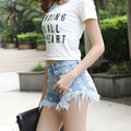 Star Printed Frazzle Hole Fashion Casual Denim Shorts Female Summer Tassle Women Jeans Shorts Sexy Slim Blue Flare Denim Shorts