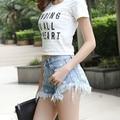 Star Printed Frazzle Hole Fashion Casual Denim Shorts Female Summer Tassle Women Jeans Shorts Sexy Slim Blue Flare Denim Shorts
