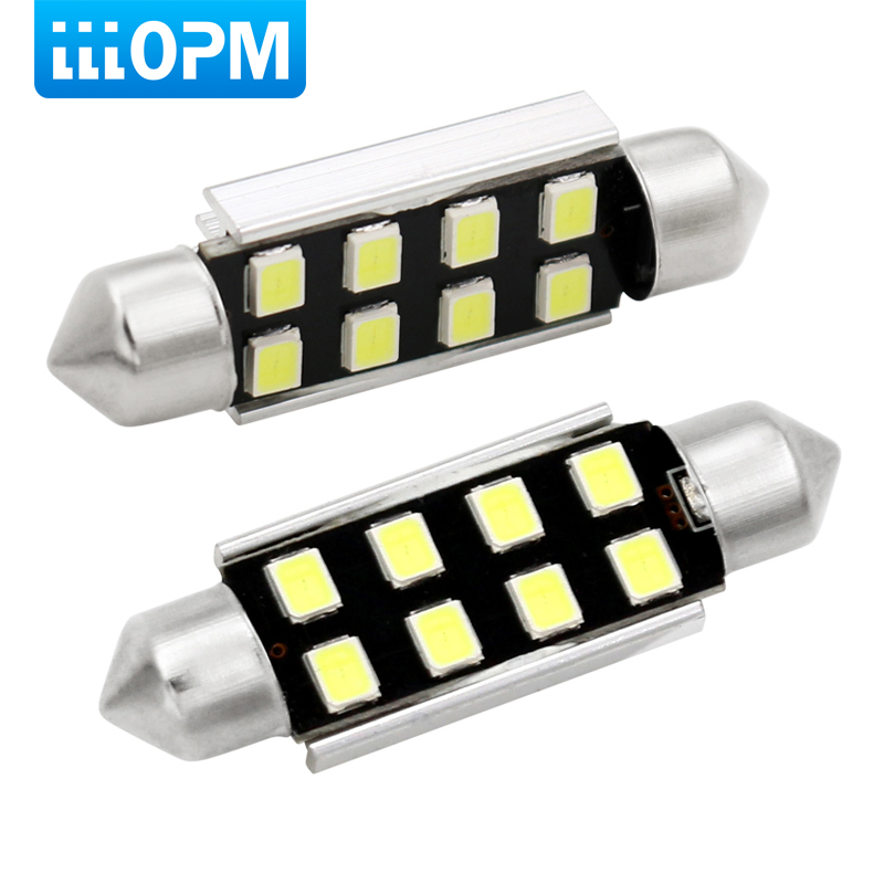 lllopm 2x <font><b>LED</b></font> 36mm White CANbus C5W Bulbs 2835SMD <font><b>Interior</b></font> Lights License Plate Light For <font><b>BMW</b></font> E39 E36 E46 E90 <font><b>E60</b></font> E30 E53 E70 image