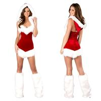 Women Sexy Christmas Festival Cosplay Costumes Female Pure Red Corduroy Halloween Uniform Role Playing for Adult Santa Clause