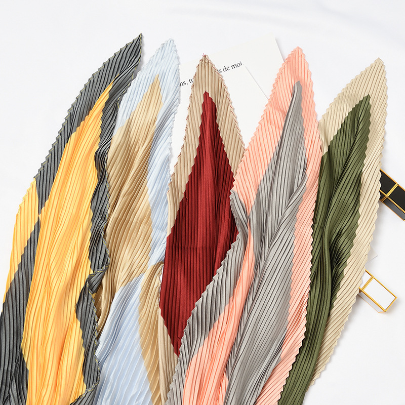 Women's 2019 Explosion Models Hot Sale Pleated Corrugated Silk Scarf Casual Tied Bag Decoration Literary Scarf