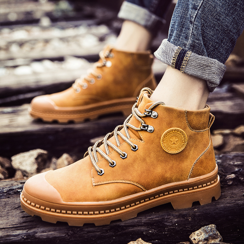 2018 Low top Martin Boots Men 39 s English Style Student Ankle Boots Winter New Style with Velvety Korean Version of With Overalls5 in Basic Boots from Shoes