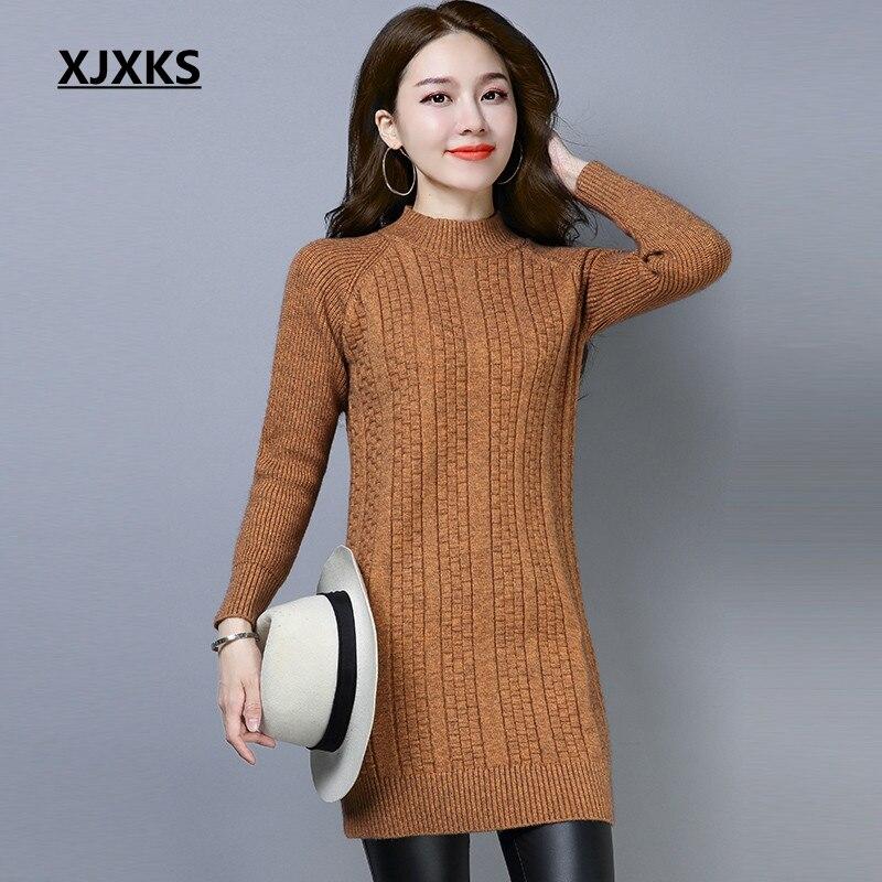 XJXKS hauts d'hiver pour femmes Long pull Roupas Feminina bonne qualité laine et cachemire tricot femme pull pull robe