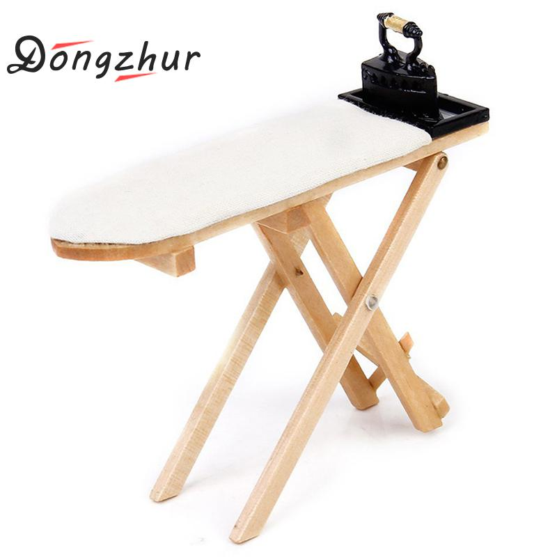 1 Pcs Mini Craft White Wood Ironing Board Scene Accessories Dollhouse Miniature Furniture Toy Only 1:12 Doll House Ironing Board image