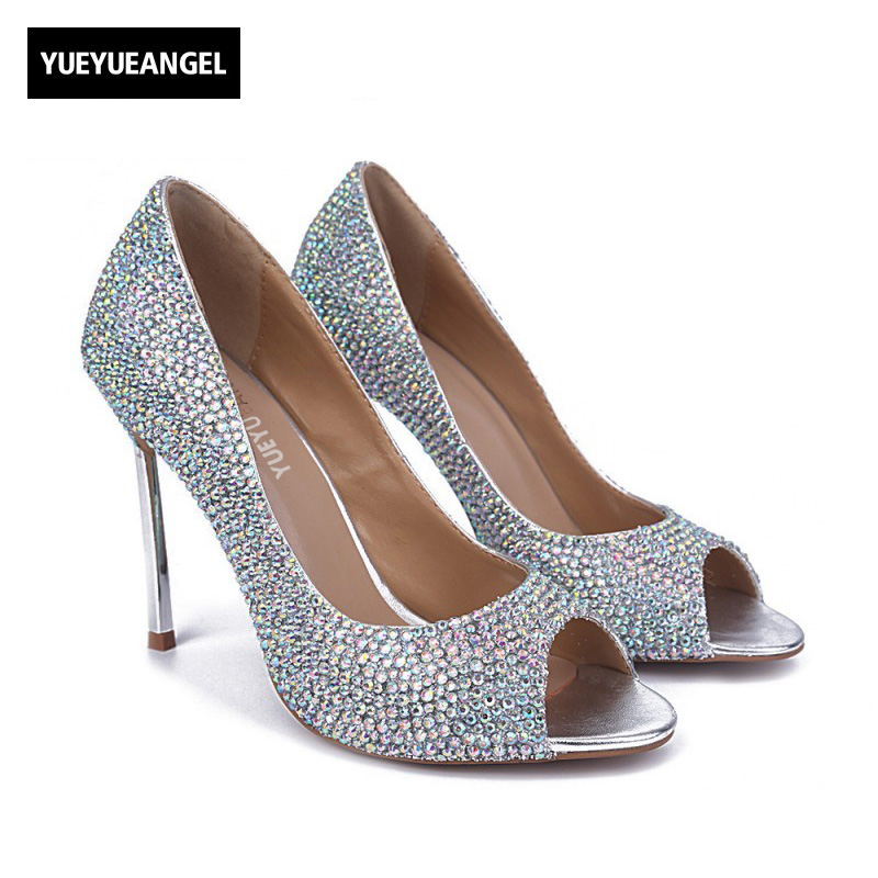 Autumn New Fashion Women Shoes Slip On Peep Toe Lady Crystal Decoration High Heel Shoes For Women Party Dress Wedding Pumps fashion white lady peep toe shoes for wedding graduation party prom shoes elegant high heel lace flower bridal wedding shoes