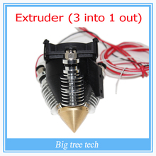Extruder Full kit- Lite6 Brass Multi Color Nozzle 3 IN 1 OUT 0.4mm For 1.75mm Filament Mixing Colors Multi Nozzle For 3D Printer