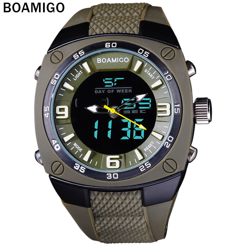 Prix pour Hommes montres de sport militaire armée vert en plein air double affichage Quartz Numérique Montre de bain étanche bande de caoutchouc montre BOAMIGO
