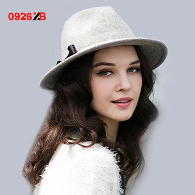 Aliexpress.com   Buy 0926XB Women Grey Floppy Brim Pure Wool Fedora Hat  Ribbon and Chain Lady Woolen Fedoras for Aututmn Winter Trilby Caps XB D733  ... f230a2cab3f