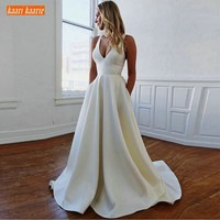 Fashion White Wedding Dresses Long Formal Party 2019 Sexy Ivory Wedding Gowns V Neck Satin Backless Floor Length Bridal Dress
