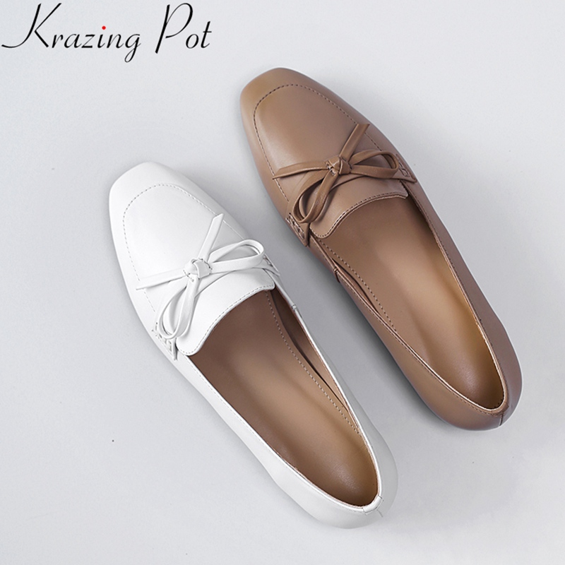 Krazing Pot 2019 fashion cow leather low heel slip on square toe women pumps butterfly knot