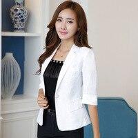 Women's suit jacket summer new style fashion white seven point sleeve office ladies casual suit short paragraph cotton blazer