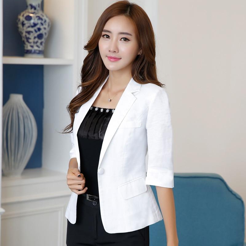 Women's Suit Jacket Summer New Style Fashion White Seven-point Sleeve Office Ladies Casual Suit Short Paragraph Cotton Blazer