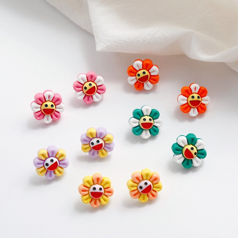 Korean Cute Cartoon Resin Sunflower Smile Face Anti allergy Fresh Woman Girls Stud Earrings Fashion Jewelry Holiday KQQE in Stud Earrings from Jewelry Accessories
