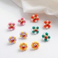 Korean Cute Cartoon Resin Sunflower Smile Face Anti-allergy Fresh Woman Girls Stud Earrings Fashion Jewelry Holiday-KQQE